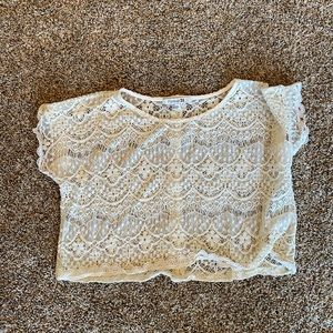 Off white/ cream lace crop top